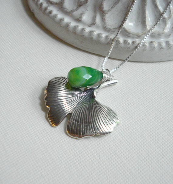 Silver Leaf Pendant Necklace, Sterling Silver Necklace, Chalcedony. Nature, Botanical Necklace