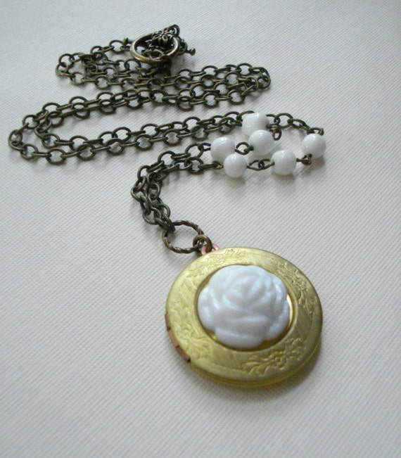 Gold Locket Pendant Necklace With White Flower, Long Chain, Vintage Locket, White, Gift For Her Under 50