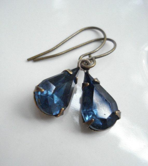Dark Blue Drop Earrings In Brass Sapphire Blue Earrings Vintage Style Victorian Small Blue Earrings
