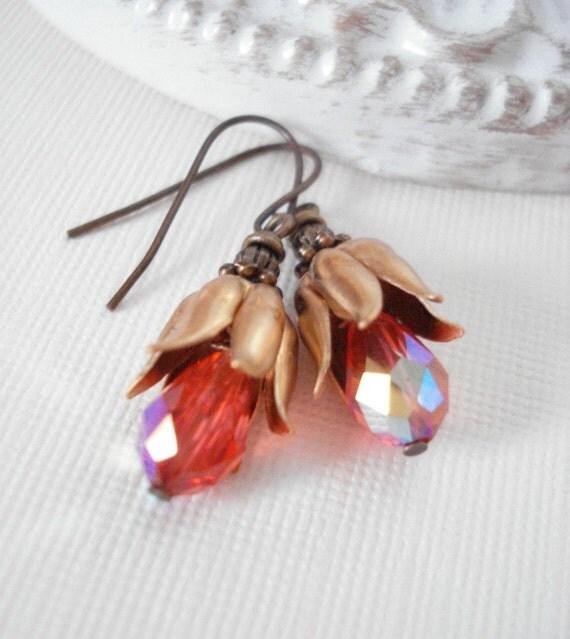 Red Gold Dangle Earrings, Vintage Style Earrings, Christmas Earrings, Antique Brass, Bell Earrings. Gift For Her Under 25