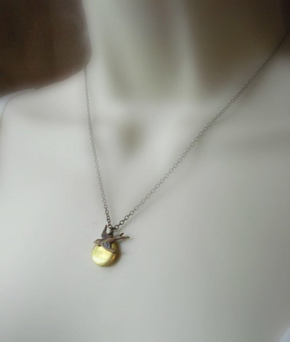 Small Brass Locket with Bird, Gold Locket Necklace, Pendant, Gold, Brown, Gift For Her Under 25