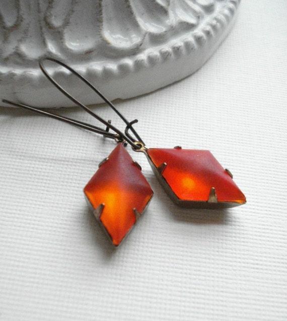 Red Dangle Earrings, Christmas Earrings, Long Red Earrings In Antique Brass, Valentine, Drop Earrings