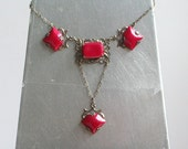 Antique Art Deco Red Glass Necklace