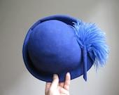 Vintage Royal Blue Wool Feathered Hat