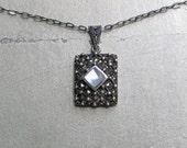 Vintage Sterling Silver, Marcasite and Mother of Pearl Locket