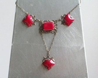 Antique Art Deco Red Glass Necklace