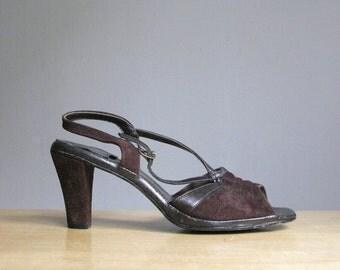 Vintage Peep Toe Chocolate Brown Suede Hush Puppies