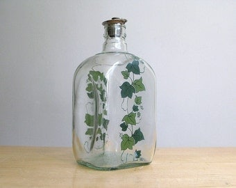 Vintage Ivy Painted Glass Carafe