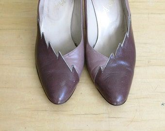 Vintage Mr. Bert 2-toned Brown and Taupe Leather Heels Size 7