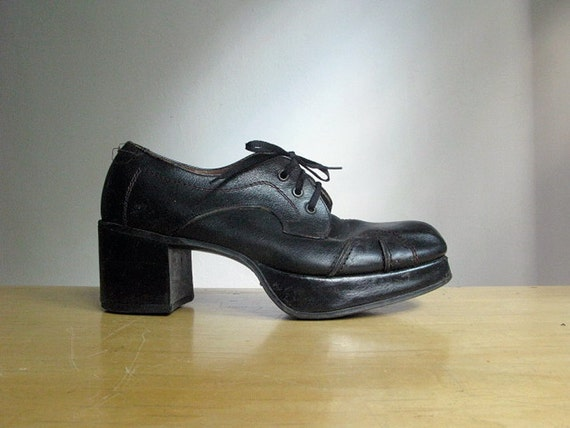 vintage 1970 s mens black platform shoes