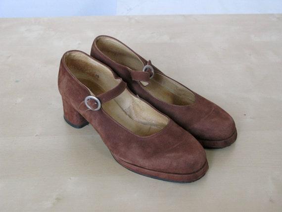 Vintage Eder of Paris Brown Suede Platform Shoes