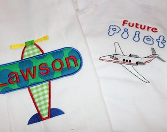 Airplane burpcloth Personalized and Future pilot one piece- 2 items