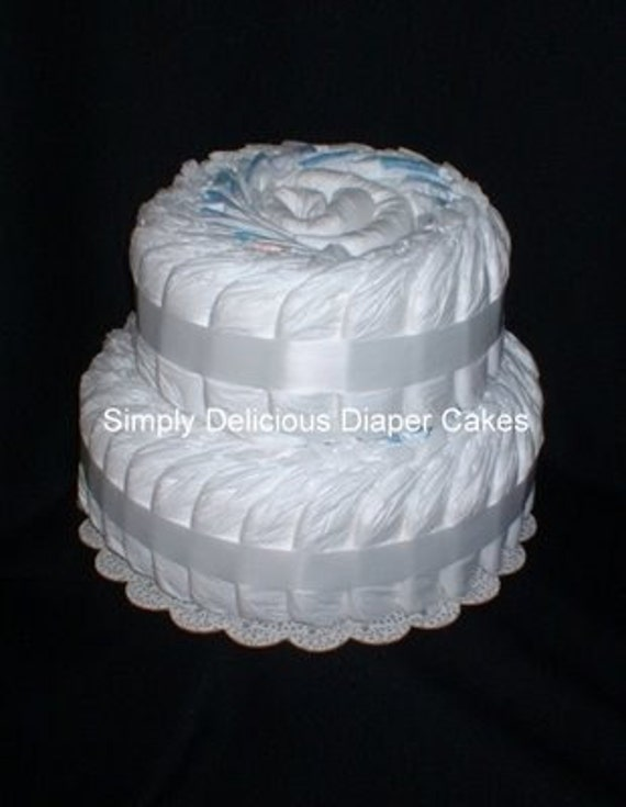 Undecorated Plain White 2-Tier Diaper Cake Baby Shower