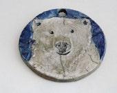 Polar Bear Ornament, Raku