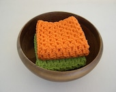 Crochet Washcloths and Dishcloths - Hot Green and Orange