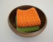 Crochet Washcloths and Dishcloths - Hot Green and Orange