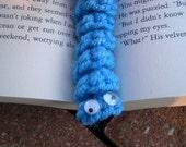 Blue Crochet Bookworm Bookmark