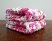 Two Pink Crochet Washcloths or Dishcloths