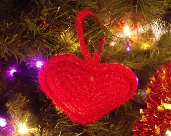 Crochet Love Heart Red Decoration Ornament
