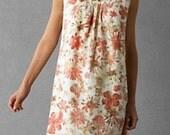 Vintage 1970s Linen Pink Floral Print Party Dress Summer dress S/M