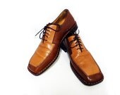 1960s VERO CUOIO Men Shoes Tan-Brown Leather Loafers 9 1/2 M