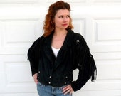80s Fringe Suede black Jacket, Vintage Western cowgirl Women Size S