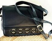 Vintage Purse Navy blue Leather Briefcase Convertible Handbag Crossbody Messenger Bag