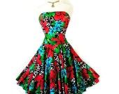 1980s Cotton dress Strapless AJ BARI Floral Print Full Skirt Party Cocktail Dress