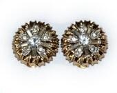 Vintage 50s  Clip Earrings Rhinestones Gold Tone Vintage Bridal Wedding Earrings