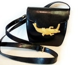 SALE Vintage Black Faux Leather Purse / Shoulder Bag with Gold Metal Alligator CASUAL CORNER
