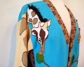 SALE Vintage 80s Knits Sweater Jacket Storybook Giraffe Pattern Turquoise Cardigan