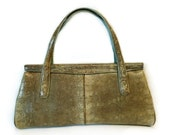 Vintage 1950's Snake Skin Handbag Purse Gold Hardware