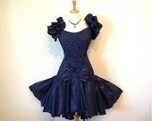 Vintage 1950's Prom dress Blue Taffeta Bow Formal Cocktail Dress, Vintage Designer Dress - S/M