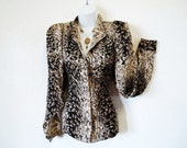 Vintage Snake Skin Print Silk Blouse. Bellino Paris Mode Women Size 8