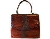 Vintage BRAHMIN Crocodile Leather Handbag Purse Whisky Brown Gold Hardware