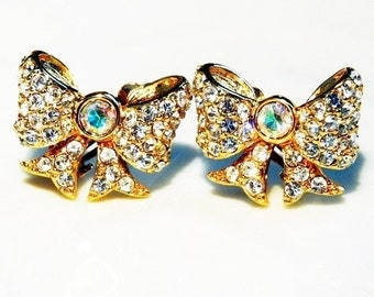 SWAN Earrings  Clip on Swarovski Crystal Bow Aurora crystal 1950s Earrings