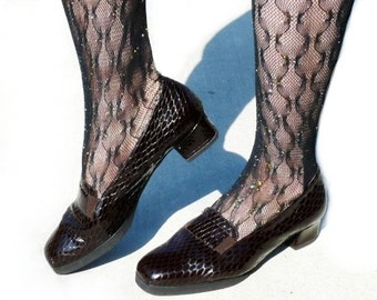 Vintage Shoes Crocodile pattern Dark Brown Leather Women Shoes Size 9