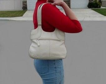 Vintage Genuine Leather Bag Hobo Creamy White Tote Handbag