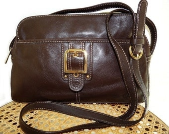 Vintage Brown Leather Bag Shoulder Aurielle Satchel  bag