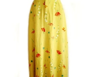 Vintage 60s Linen Skirt Poppy Floral Printed  Liz Claiborne Waist Pockets Summer fashion Yellow red