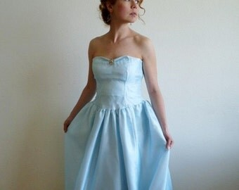 1950s Dress Postel Blue Chiffon Sweetheart Strapless Lilli Diamond Prom Wedding Gown XS/S