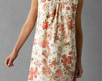 Linen Dress Coral Pink Floral Print Empire Waist Summer dress S/M