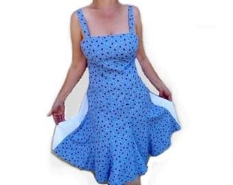 Vintage 1950s Dress Ladybugs Print Eyelet Summer dress Medium