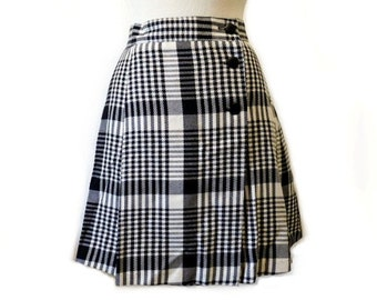 Vintage 80s Plaid Mini Skirt Black White Wrap  S