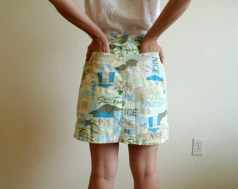 Vintage Mini Skirt Shorts by French Cuff 1960s Summer Scooter Skirt Small