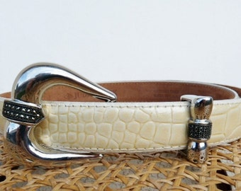 Marcasite Sterling Silver Buckle Belt Vintage 80s by Judith Jack Art Deco Snake Leather Belt 31