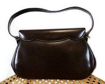 SALE Vintage 50's Purse Brown Leather ETRA Flip Gold Tone Handbag