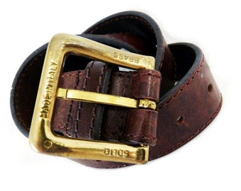 80s Leather Belt Guess Wide Brown Genuine Leather Solid Brass Buckle Made in Italy