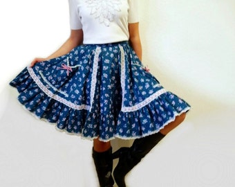 Vintage 1960s Cotton Skirt Ruffle Turquoise - blue Pocket bow lace Square Dance skirt Small