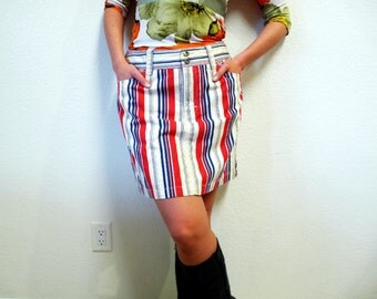 Vintage Tommy Hilfiger Jeans CottonSkirt  Striped Denim Nautical Hippie Mini Skirt M